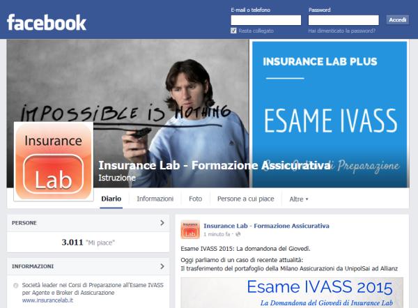 Pagina FB di Insurance Lab
