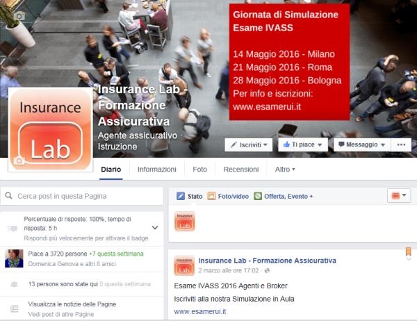 Pagina FB Insurance Lab